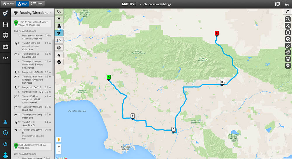 Maptive's Multi-stop Route Planner