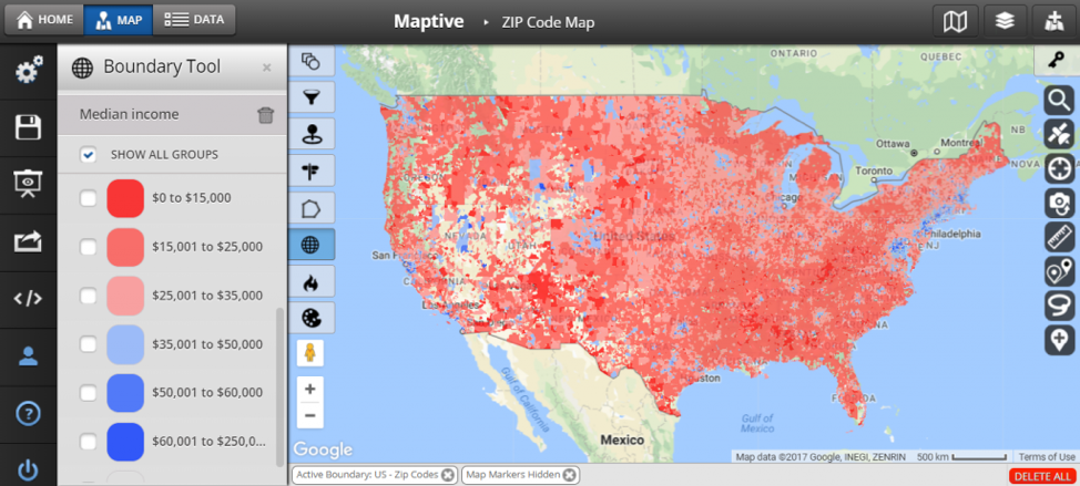 Income By Zip Code Map income zip code map   Maptive