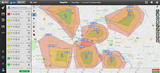 Radius Mapping - Drive Time Polygons