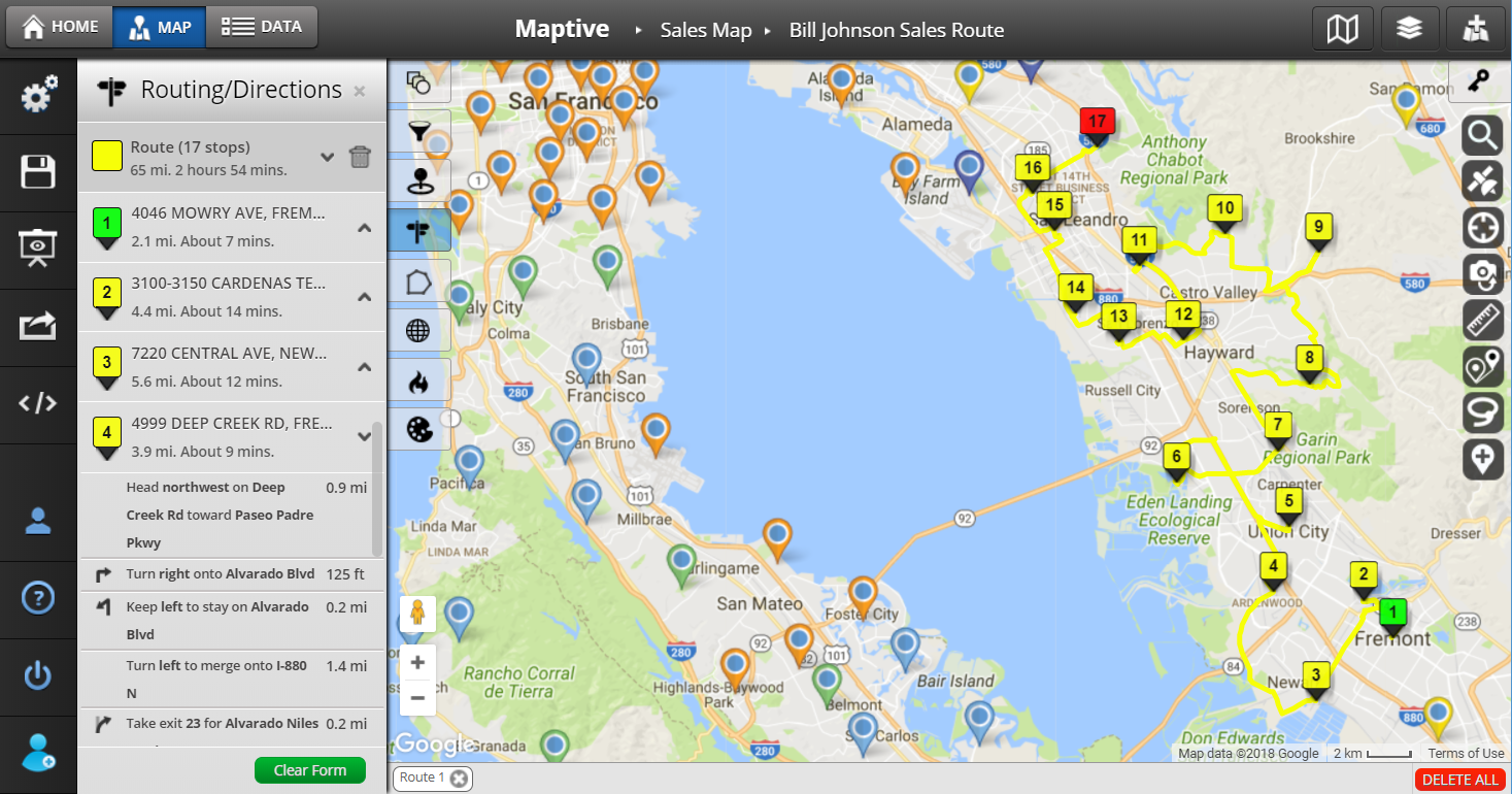 Free sales mapping software maptive for Building mapping software