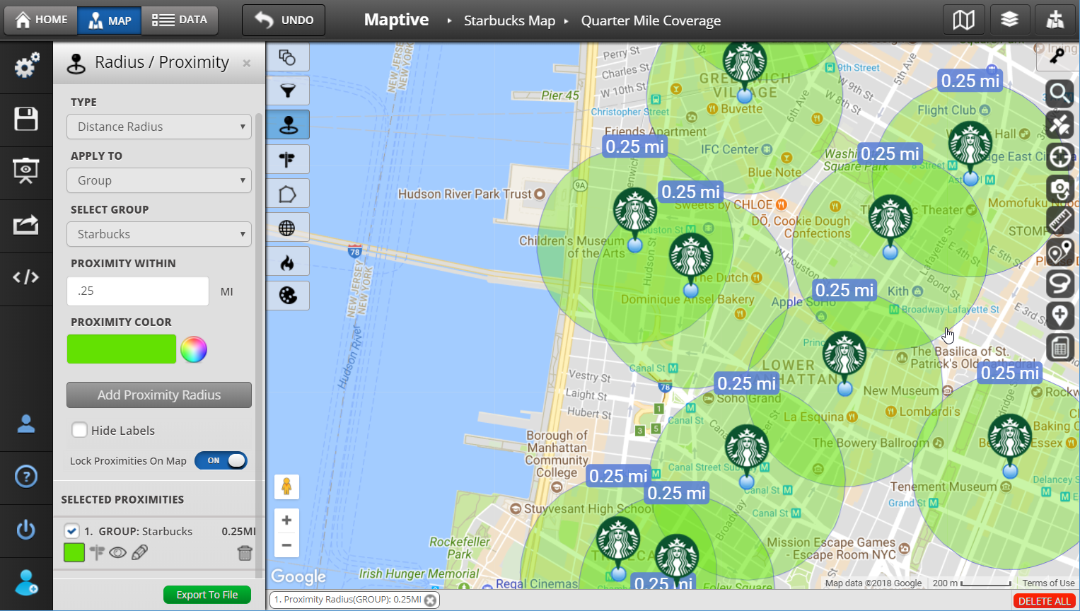 radius map and proximity tool maptive