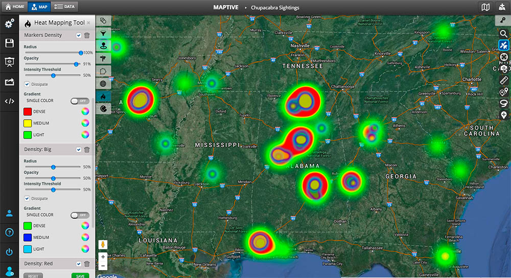 Heat Mapping Tool Map Example