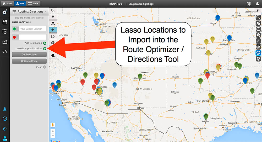 exporting location data from within your lasso area is incredibly simple and convenient and can be done in just 1 click data is exported into a xls or csv