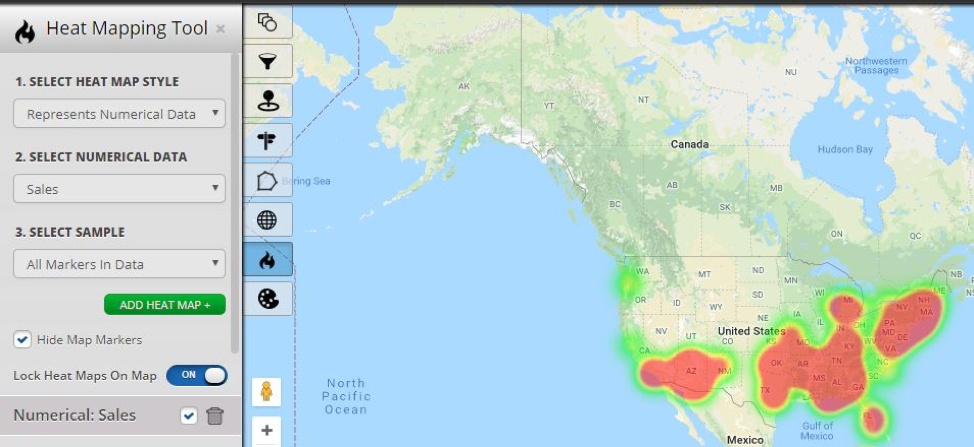 plot data on heat map