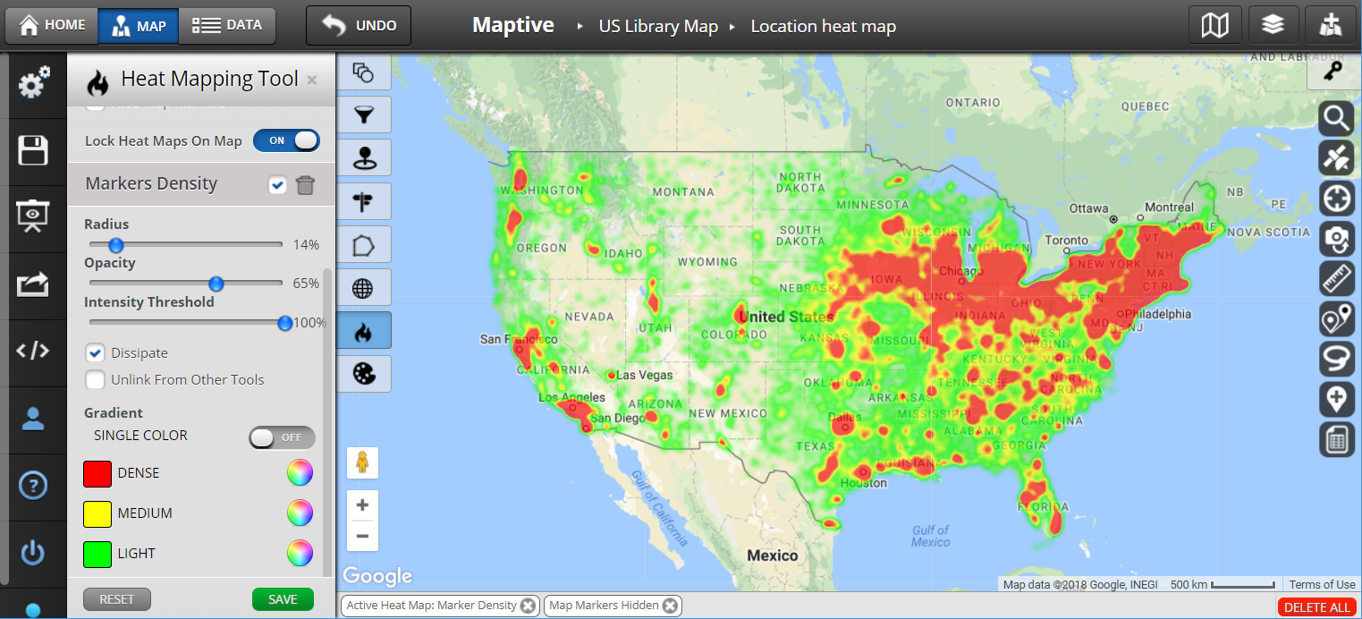 Heat Map Software Heat Map Generator Maptive - Us-heat-map-excel