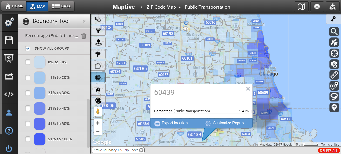 ZIP Code Map United States Maptive