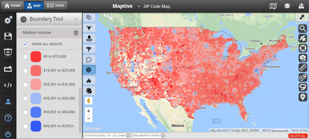 US zip code map colored by median income.