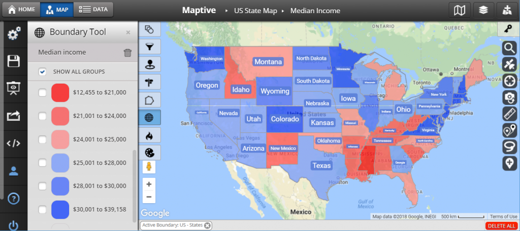 Us State Map Maptive - State-map-of-us