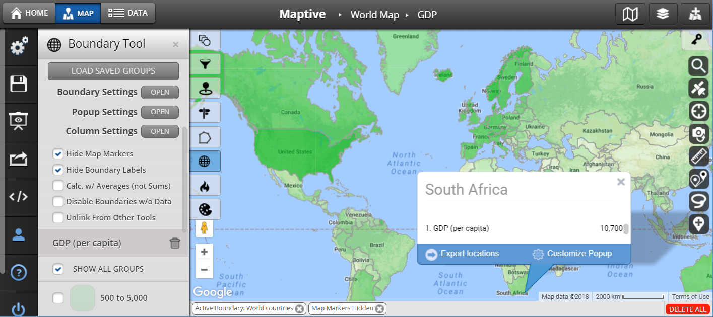 GDP Map with Country Boundaries - Global Mapping Software