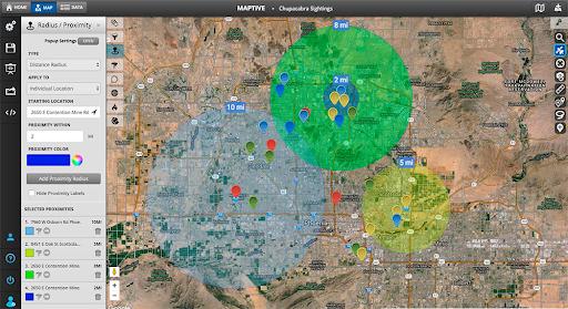 radius proximity mapping tool