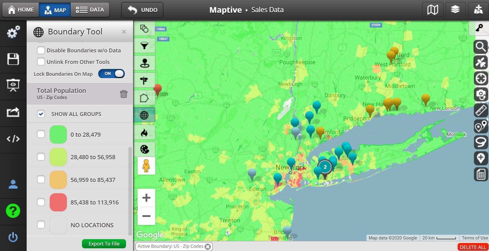 Population Density Map - 5-Digit Zip Codes