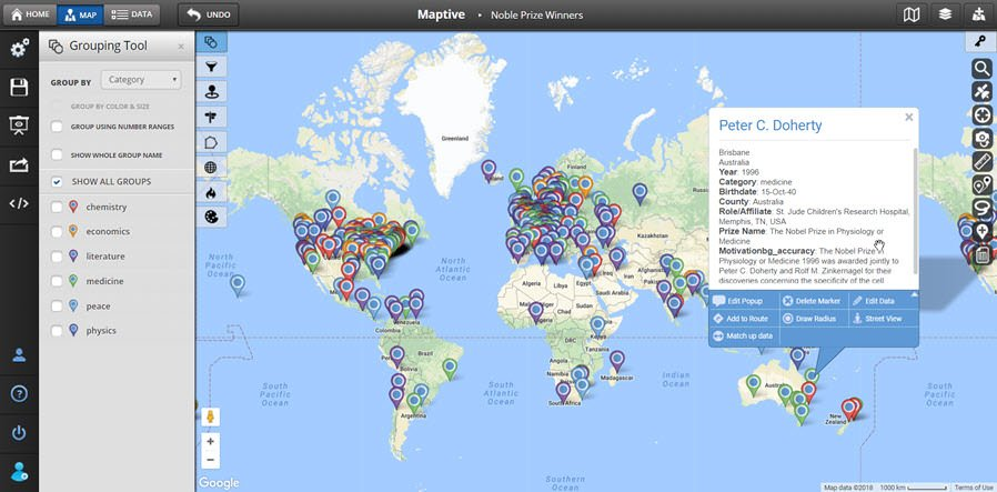 Nobel Prize Winners Map - GIS Software