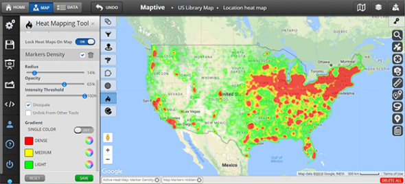 US library heat map