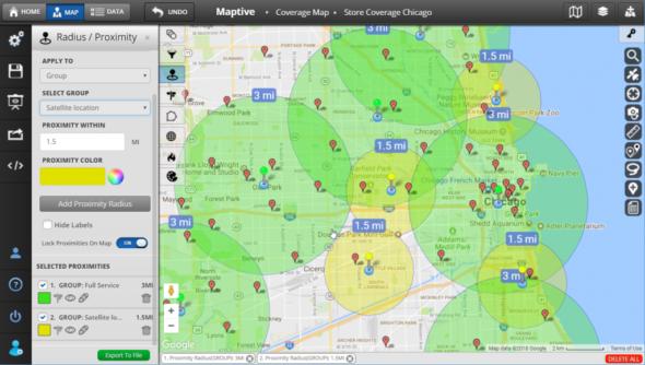 Map Presentation Software - Radius Tool