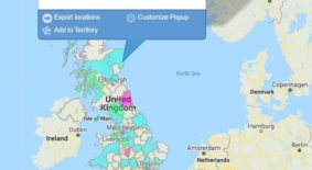 Postal Code Maps - UK with Pop-up