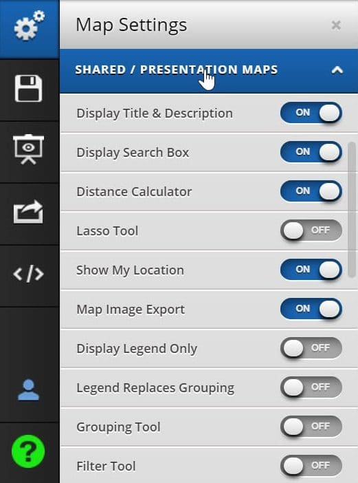 Shared Map Display Settings