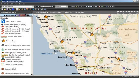 Microsoft Streets and Trips Route Planner Screenshot